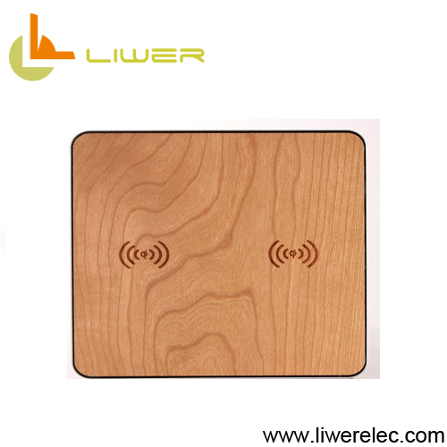 2 in1 wood wireless charger, bamboo qi wireless charger with ce fcc rohs certified
