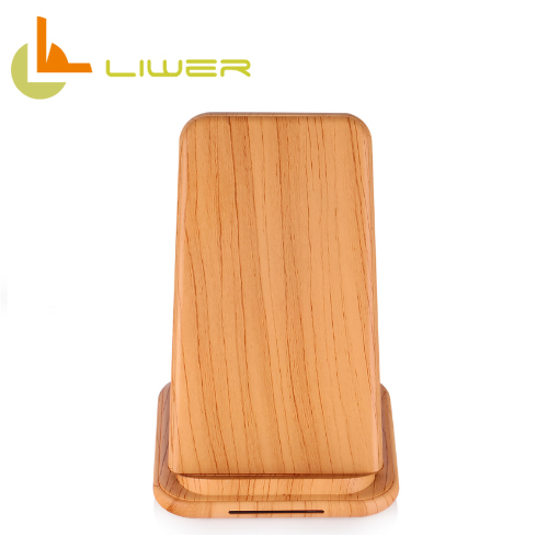 Customs logo print 10w fast charge wood grain wireless charger stand for iphone and samsung