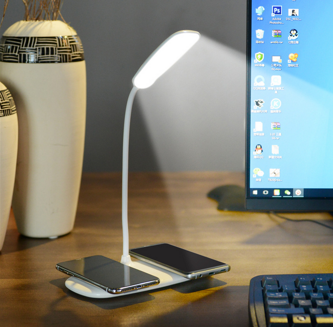 Qi certified 2 in 1 LED lamp with wireless charger for iphone, samsung